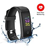 Bereezy Fitness Tracker Watch, Pedometer Watch Activity Tracker Smart Wristband with Heart Rate/Sleep Monitor Healthy Tracker, Distance and Step Counter, Calorie Counter for Walking Running (Black)