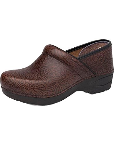 Dansko XP 2.0 Women's Stapled Clog- Brown Floral Tooled- 38 B/M EU (7.5-8 US) ()