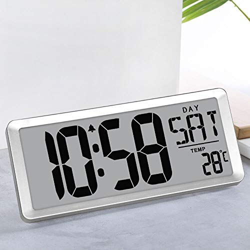 TXL Jumbo Digital Alarm Clock, Large LCD Display Timer/Calendar/Temperature/Snooze/12-24H, Energy Saving Battery Operated Extra Large Digital Wall Clock, Desk Clock for Bedside Office Gym Hotel,Silver