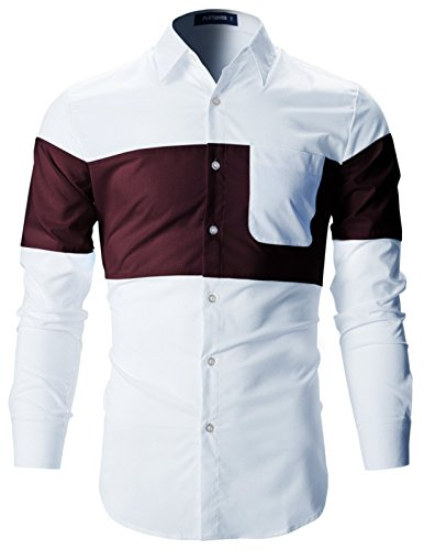 FLATSEVEN Mens Designer Slim Fit Contrast Two-Tone Long Sleeve Shirts (SH196) Wine, L