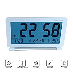 Pensenion Travel Alarm Clock- Digital Folding LCD Travel Clocks Ultra Thin with Night Light, Temperature and Calender for Home and Office, 4.13X2.60X0.59 inch - White