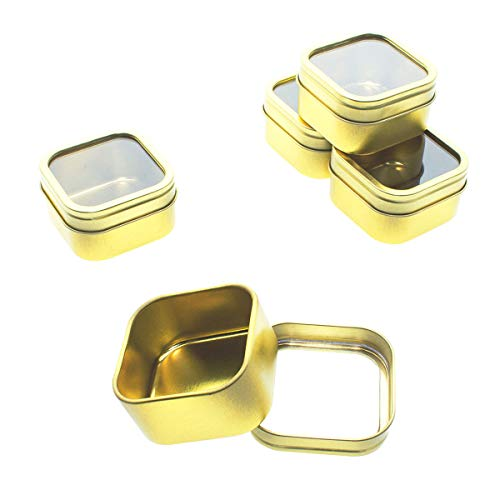 Mimi Pack 4 oz Tins 24 Pack of Square Window Top Tin Containers with Lids for Cosmetics, Party Favors, Gifts and Food Storage (Gold)