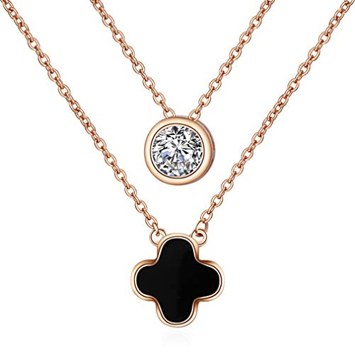 LOVESILVER Sterling Silver Four-Leaf Necklace Double-Layer Round-Cut Zirconia Pendant Necklace,18""