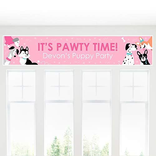 Big Dot of Happiness Personalized Pawty Like a Puppy Girl - Custom Pink Dog Baby Shower or Birthday Party Decorations Party Banner ()