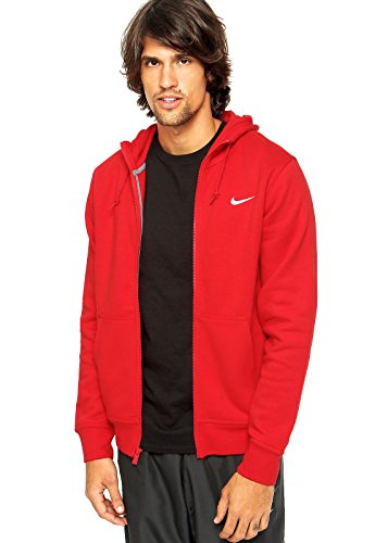 Nike Men's Club Swoosh Full-Zip Hoodie (University Red) Medium University Full Zip Hoodie
