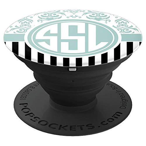 SSL Monogram Pop Socket Blue Damask Initials SSL or SLS - PopSockets Grip and Stand for Phones and Tablets