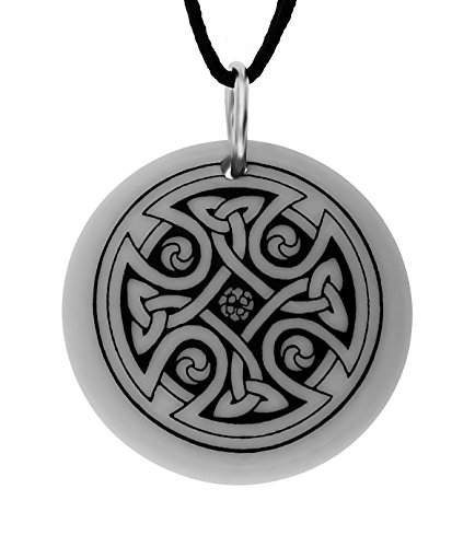 UNYKTOUCH Handmade Celtic Nevern Cross Round Shaped Porcelain Pendant (on Black Cord)