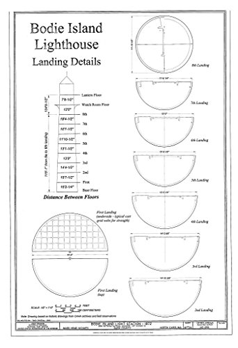 Historic Pictoric Blueprint Diagram HABS NC-395 (Sheet 10 of 36) - Bodie Island Light Station, Off Highway 12, Nags Head, Dare County, NC 08in x 12in