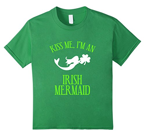 [Kids FUNNY KISS ME IM AN IRISH MERMAID T-SHIRT Magical Gift 6 Grass] (Kiss Me Im Irish Costume)