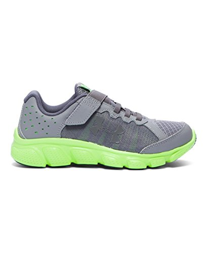 Under Armour Boys' Pre-School Assert 6 Running Shoes, Steel/Lime Light,