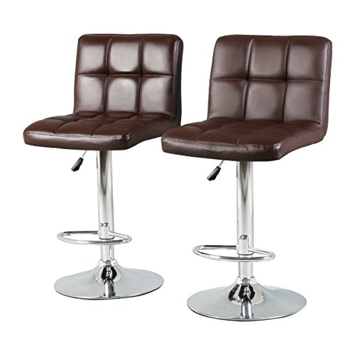 Modern Adjustable 360 Degree Swivel Bar Stool, Faux Leather Square Back Design Barstools, Set of 2, Brown