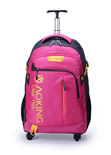 AOKING 20/22 Inch Water Resistant Travel School Business Rolling Wheeled Backpack with Laptop Compartment (Pink, 22 Inch)