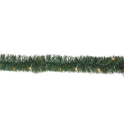 18' Pre-Lit Green Pine Artificial Christmas Garland - 50 Clear Lights by Hofert (18 Garland Lighted Ft)