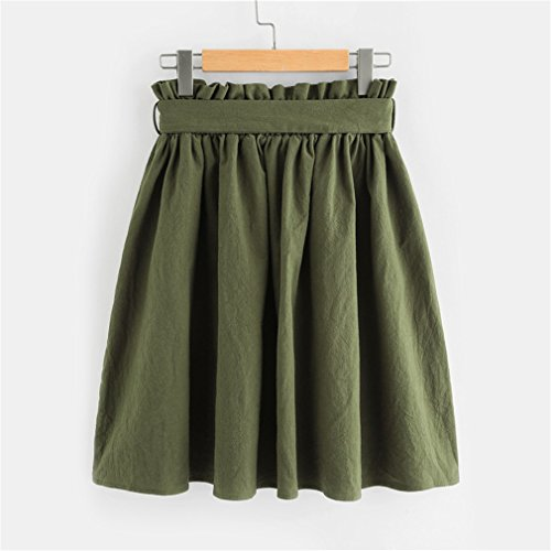 Poche Green Ligne lgante Courte Jupe Jupe Avant Bangyin Vert d't la Jupes Taille Jupe Une Poche Femmes Army Femme Boutonne FHHtwR