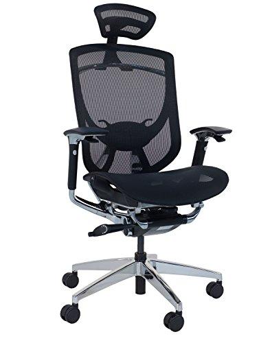 Sigma Office - Silla ergonomica con reposacabezas Ajustable y reposabrazos en Red de Polipropileno Negro