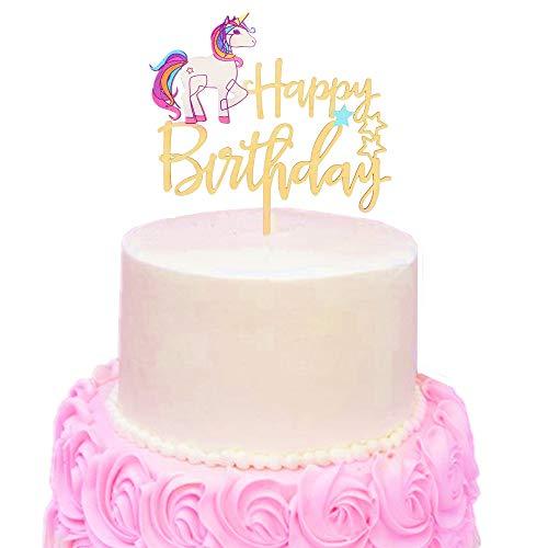 Sakolla Unicorn Cake Topper Upgraded Acrylic New Design Happy Birthday Handmade Decoration For Party Supplies Amazonca