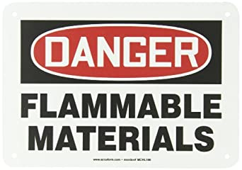 """Accuform Signs MCHL186VP Plastic Safety Sign, Legend """"DANGER FLAMMABLE MATERIALS"""", 7"""" Length x 10"""" Width x 0.055"""" Thickness, Red/Black on White"""
