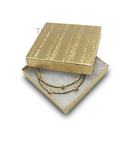 The Display Guys Pack of 25 Cotton Filled Cardboard Paper Gold Jewelry Box Gift Case (3 1/2x3 1/2x1 inches - Filled Gift Box Gold