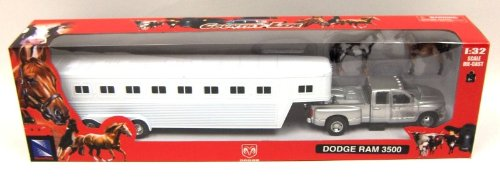 Toys 'R' Us New Ray 1:32 Dodge RAM 3500 White w/Trailer -...