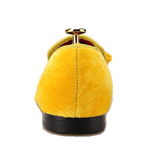 Toes Shoes Gold amp;HANN Men's Tassel Loafer Round Velvet Smoking Slipper Loafer HI Slip on xC6Bnqx
