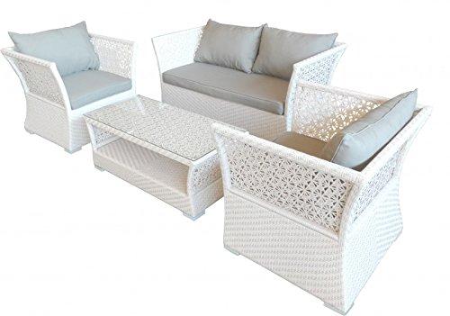 Casa Padrino Designer Garten Möbel Set Weiß Alu Geflecht Weiß 1 Bank + 2 Stühle + Tisch