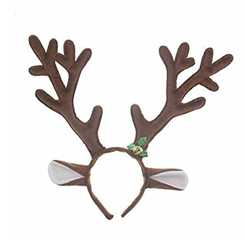 Pixnor Reindeer Antlers Headband Headwear Christmas Headband for Christmas Easter Halloween Party]()