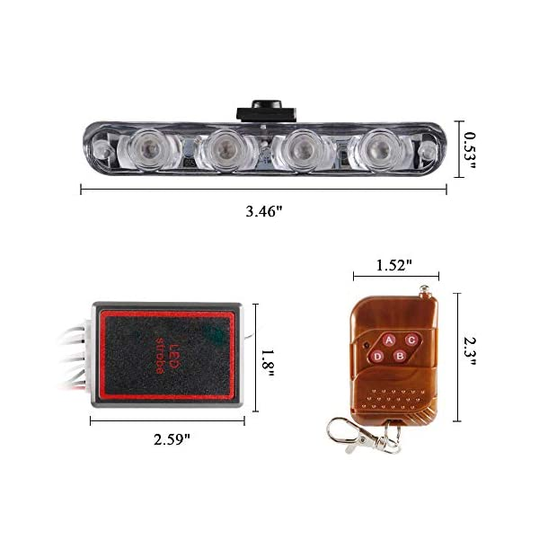4x4 LED luz de advertencia estroboscópica DC12V intermitente de emergencia lámpara de baliza remoto inalámbrico advertencia estroboscópica luz externa de emergencia para camión caravana Camper 2