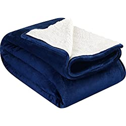 Utopia Bedding Sherpa Flannel Fleece Reversible Blankets (Navy, Queen) – Extra Soft Brush Fabric – Super Warm, Lightweight Bed/Couch Blanket – Easy Care