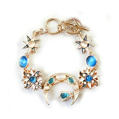 LOVE STORY Fashion Sun Moon Star Gold Asymmetry Chain Jewelry Bangle Bracelet Wristband (The Sun And The Moon Love Story)