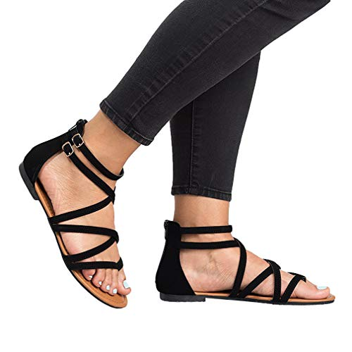 Tobillo Alpargatas de Abierta Tiras de 42 Hebilla Sandalias Redonda Moda de Cabeza Zapatillas Color Moda Sandalias Mujer Abierto Negro Sólido Punta de Plataforma 36 Sandalias x0wtfF