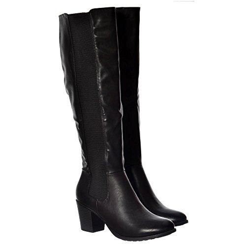 Stretch Boot Black Women's Black Elasticated Knee Onlineshoe Tan Low High Heel Winter qUpSOOx