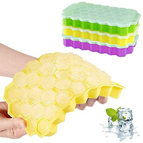 AIUSD Honeycomb Shape Ice Cube Maker 3Pcs Ice Tray Ice Cube Mold Storage Containers -