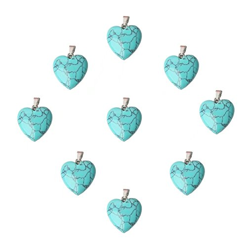Natural Light Blue Turquoise Pendant - 9 Pcs Imitation Blue Turquoise Semi Precious Stone 16mm Heart Charm Pendant Beads for Women Jewelry Craft Making Supply