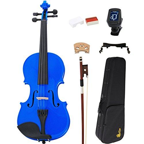 Kaizer Violin Acoustic Full Size 4/4 Blue Varnished VLN-1000BL-4/4-TNR by Kaizer
