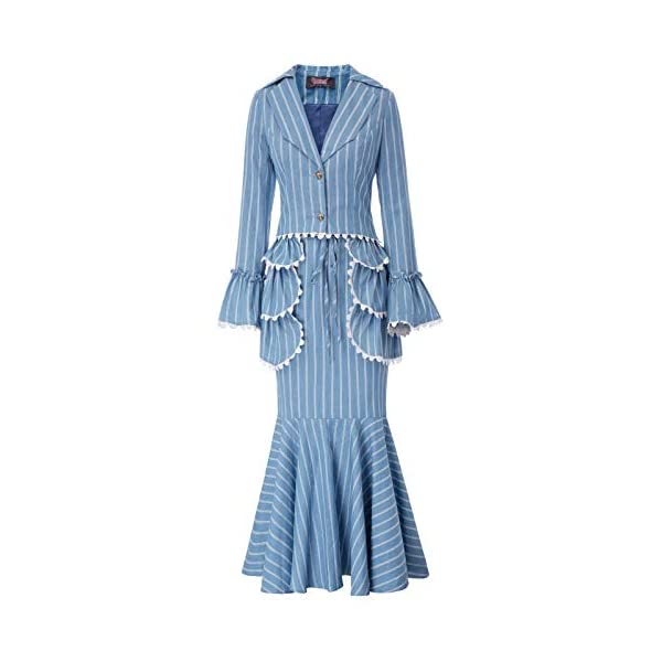 Kerrian Online Fashions 41TMUMr865L SCARLET DARKNESS Women Victorian Skirt Suit 3pcs Edwardian Set Coat+Skirt+Apron