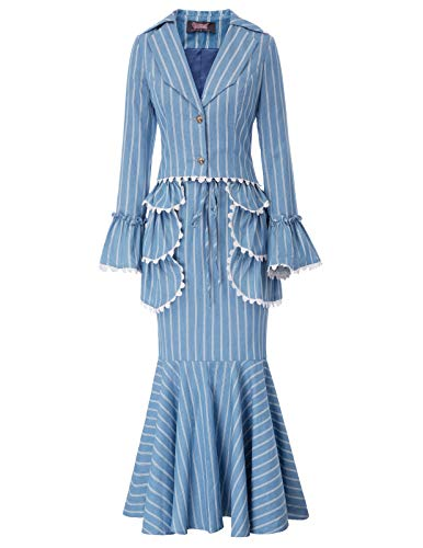 (Women Vintage Victorian Costume Edwardian Dress Suit Coat+Skirt+Apron 3pcs Set M)