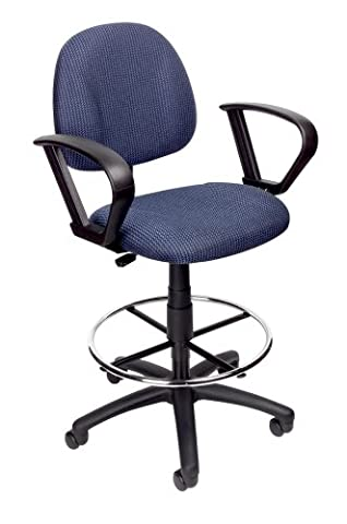 Boss Office Products B1617-BE Ergonomic Works Drafting Chair with Loop Arms in Blue - Boss Office Desk