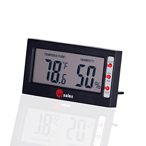 Price comparison product image Easy to Read: Indoor Digital Thermometer and Humidity Monitor,  2 FREE Batteries,  Large Digital Display. Simple Temperature & Relative Humidity Meter