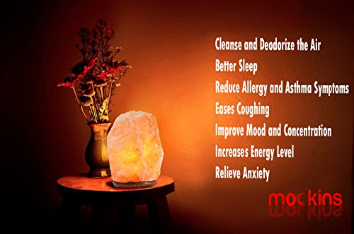 Mockins 2 PACK Natural Hand Carved Himalayan Salt Lamp With A Stylish Wood Base & Bulb With On and Off Switch 6-8 Inches 5-7 lbs by Mockins (Image #2)'