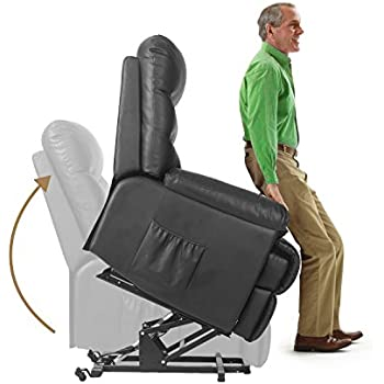 Merax Power Recliner and Lift Chair in Black PU leather Lift Recliner Chair Heavy Duty  sc 1 st  Amazon.com & Amazon.com: Power Lift Real Leather Recliner Chair Wall Hugger ... islam-shia.org