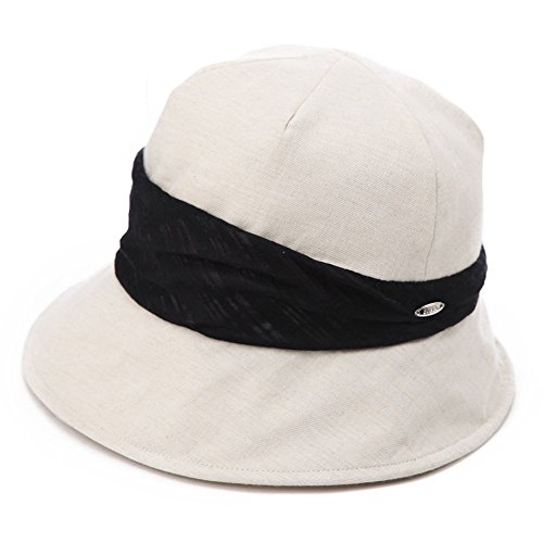 SIGGI Womens UPF50+ Summer Sunhat 100% Cotton Bucket Crushable Sun Shade Hats w/Chin Cord Beige ()