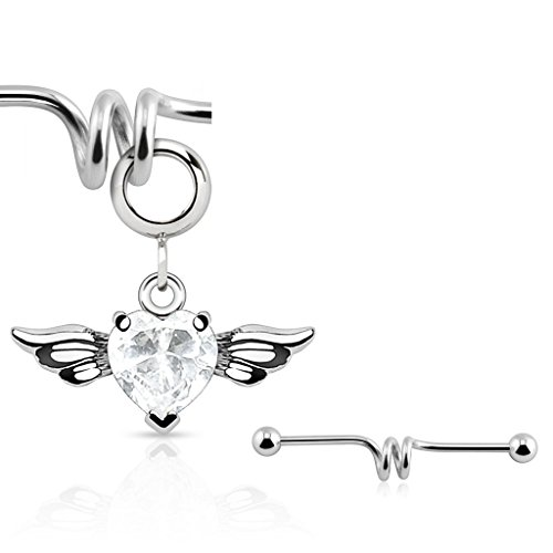 Multi Purpose Add-On CZ Gem Angel Wing Heart Dangle Charm (industrial barbell NOT included)