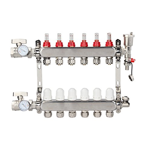 TargetEvo 6 Loop 1/2 PEX Manifold Stainless Steel Radiant Floor Heating Set Kit with Adjustable Flow Valves Automatic Air ()
