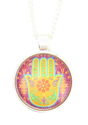 Magic Metal Hamsa Amulet Necklace Silver Tone Orange Floral Judaica Art Print Pendant NP43 Fashion Jewelry