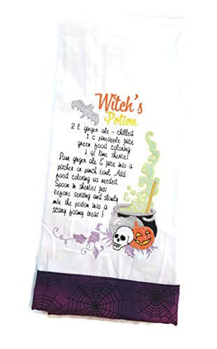 (Halloween Embroidered Kitchen Towel Witches Potion)