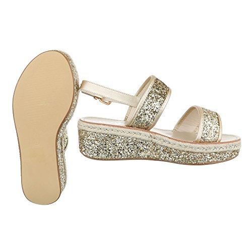 Ital-Design - Sandalias de vestir de Material Sintético para mujer dorado