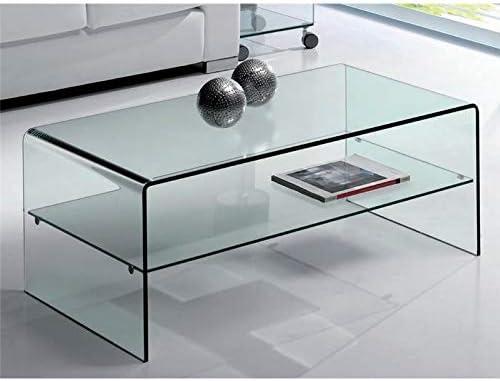 Mesa de Centro de Cristal Curvado con Estante Cardinia 110 cm ...
