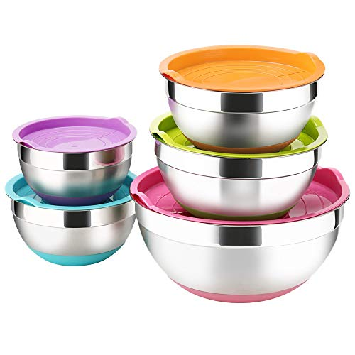 - TASTI Stainless Steel Mixing Bowls with Airtight Lids, 5 Piece Colorful Silicone Flat Base Nesting Metal Bowls, 7-3.5- 2.5-2- 1.5 Quart Measurement Lines Polished Mirror Finish For Cooking Supplies