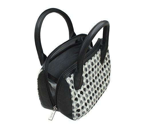 40 Coleccin Bag de y Negro Mala Piel Negro de Cuero Tweed ABERTWEED 7101 Grab PwpHqA