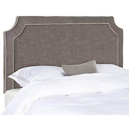 Safavieh Dane Charcoal Grey/Light Grey Piping Linen Upholstered Headboard (Notched Full Headboard)